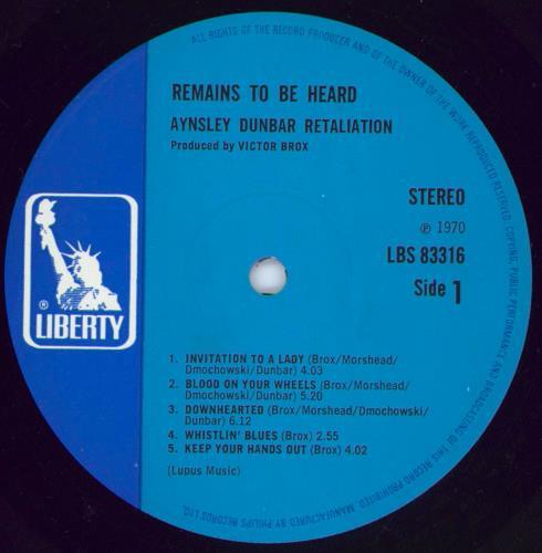 Aynsley Dunbar Remains To Be Heard vinyl LP album (LP record) UK AYNLPRE381723