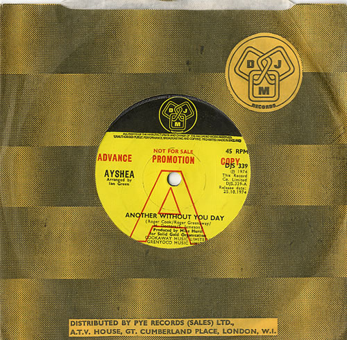 """Ayshea Another Day Without You Day 7"""" vinyl single (7 inch record) UK AYS07AN630266"""