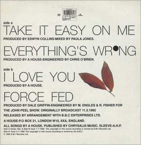 "A House Take It Easy On Me 12"" vinyl single (12 inch record / Maxi-single) UK A-H12TA271517"