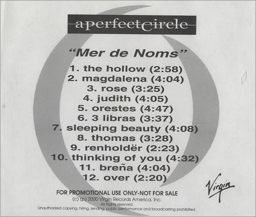 A Perfect Circle Mer De Noms CD-R acetate US PFCCRME159934