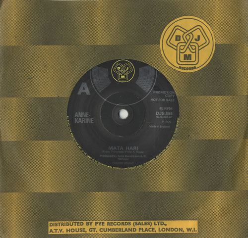 "Anne-Karine Mata Hari 7"" vinyl single (7 inch record) UK A-K07MA484117"