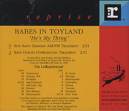 """Babes In Toyland He's My Thing CD single (CD5 / 5"""") US BITC5HE20672"""