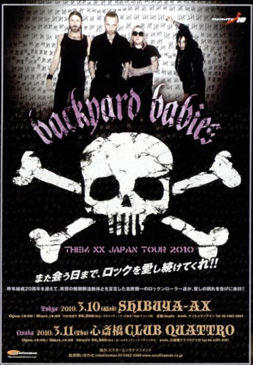 Backyard Babies Them XX Japan Tour 2010 handbill Japanese YRDHBTH503426