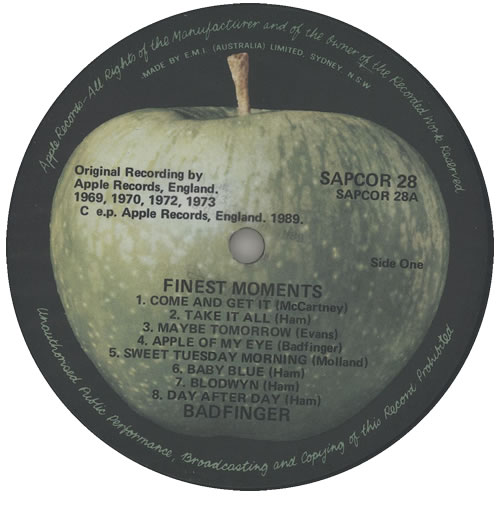 Badfinger Finest Moments vinyl LP album (LP record) Australian BDFLPFI575677