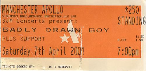 Badly Drawn Boy Manchester Apollo concert ticket UK BDWTIMA384924