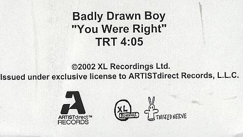 Badly Drawn Boy You Were Right video (VHS or PAL or NTSC) US BDWVIYO358897