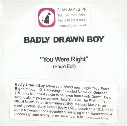 Badly Drawn Boy You Were Right CD-R acetate UK BDWCRYO500320