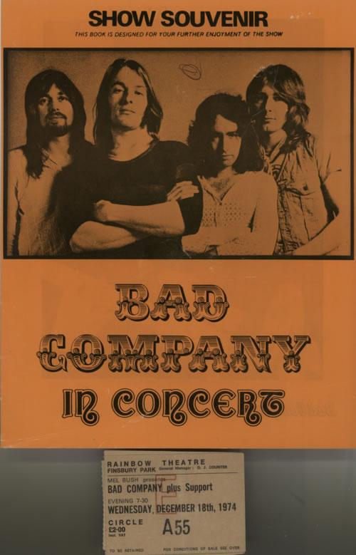 Bad Company 1974 Show Souvenir + Ticket stubs tour programme UK BCOTRSH617568