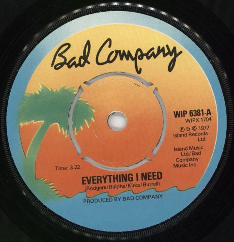 "Bad Company Everything I Need + Picture Sleeve 7"" vinyl single (7 inch record) UK BCO07EV705416"