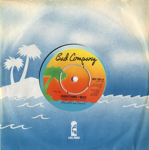 "Bad Company Everything I Need 7"" vinyl single (7 inch record) UK BCO07EV550031"