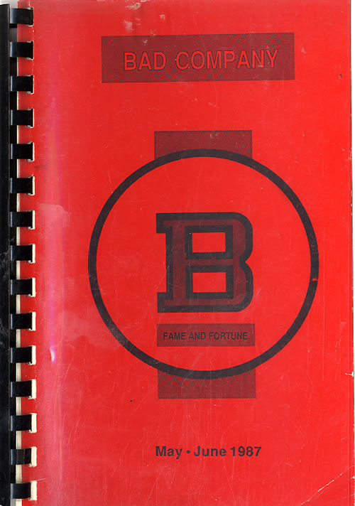 Bad Company Fame And Fortune - April - June 1987 Itinerary UK BCOITFA612301