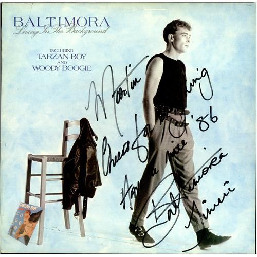 Baltimora Living In The Background - Autographed vinyl LP album (LP record) UK BTILPLI419297