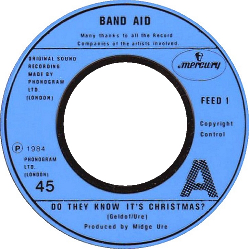 """Band Aid Do They Know It's Christmas - Jukebox Blue 7"""" vinyl single (7 inch record) UK AID07DO632008"""