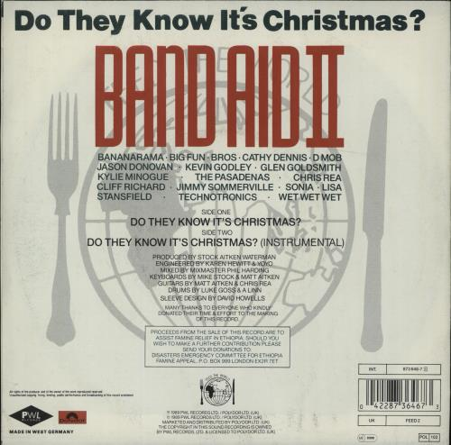 "Band Aid Do They Know It's Christmas 7"" vinyl single (7 inch record) German AID07DO667588"