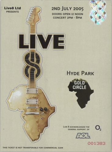 Band Aid Live 8 + ticket stub tour programme UK AIDTRLI679515