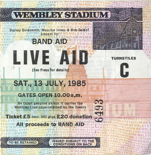 Band Aid Live Aid + Ticket Stub tour programme UK AIDTRLI193557