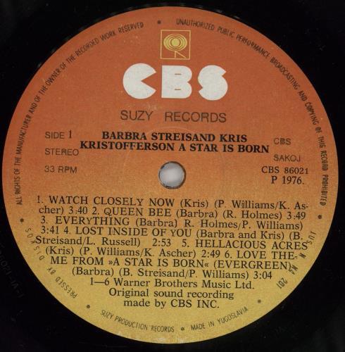 Barbra Streisand A Star Is Born vinyl LP album (LP record) Yugoslavian BARLPAS765297