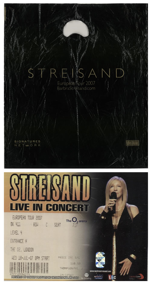 Barbra Streisand European Tour 2007 + ticket stub and carrier bag tour programme UK BARTREU579918
