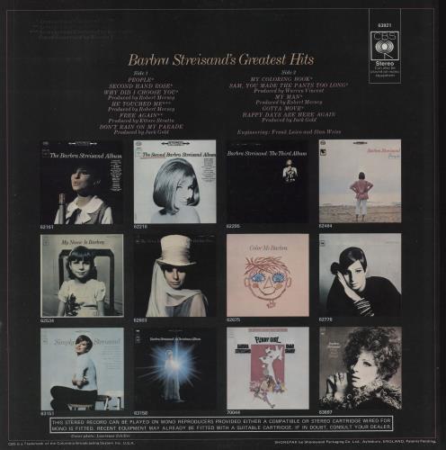 Barbra Streisand Greatest Hits - 1st - F/L vinyl LP album (LP record) UK BARLPGR762906