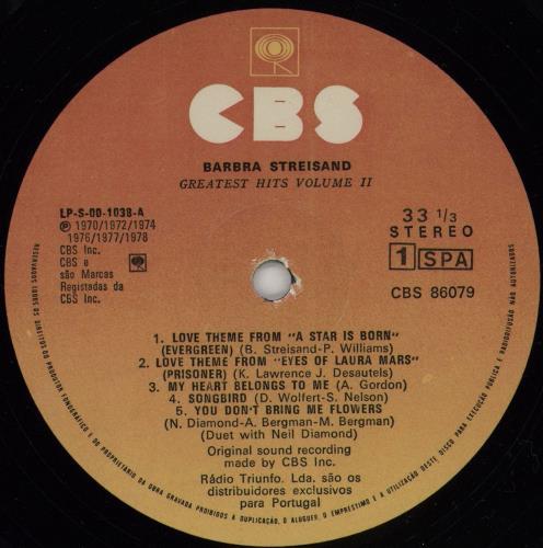Barbra Streisand Greatest Hits Vol 2 vinyl LP album (LP record) Portugese BARLPGR751542