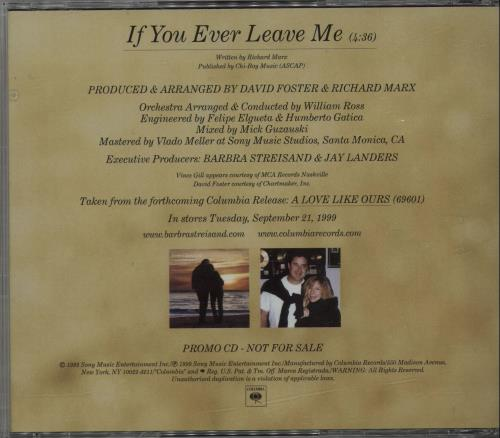 "Barbra Streisand If You Ever Leave Me CD single (CD5 / 5"") US BARC5IF146831"
