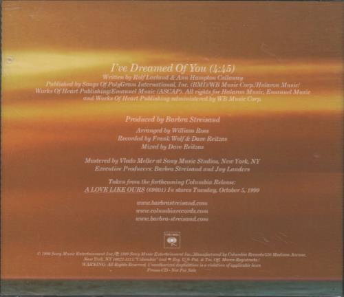 """Barbra Streisand I've Dreamed Of You CD single (CD5 / 5"""") US BARC5IV142070"""