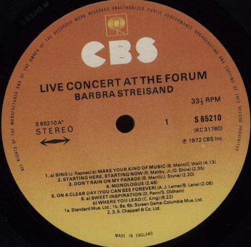 Barbra Streisand Live Concert At The Forum - Graduated vinyl LP album (LP record) UK BARLPLI402078