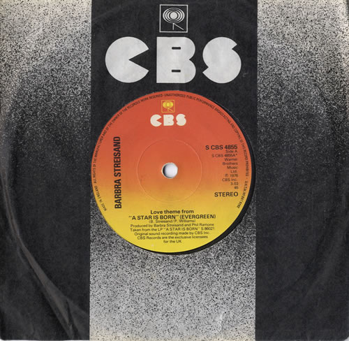 "Barbra Streisand Love Theme From 'A Star Is Born' [Evergreen] 7"" vinyl single (7 inch record) UK BAR07LO174787"