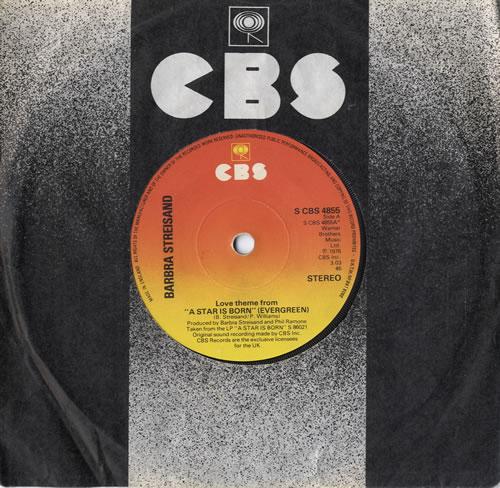 "Barbra Streisand Love Theme From 'A Star Is Born' [Evergreen] 7"" vinyl single (7 inch record) UK BAR07LO174787"