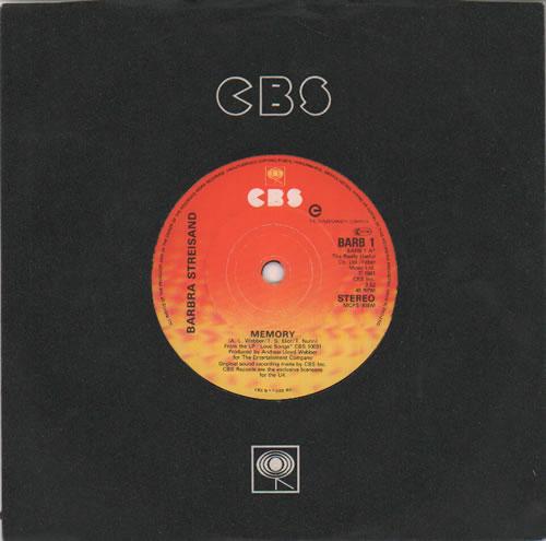 """Barbra Streisand Memory 7"""" vinyl single (7 inch record) UK BAR07ME637774"""