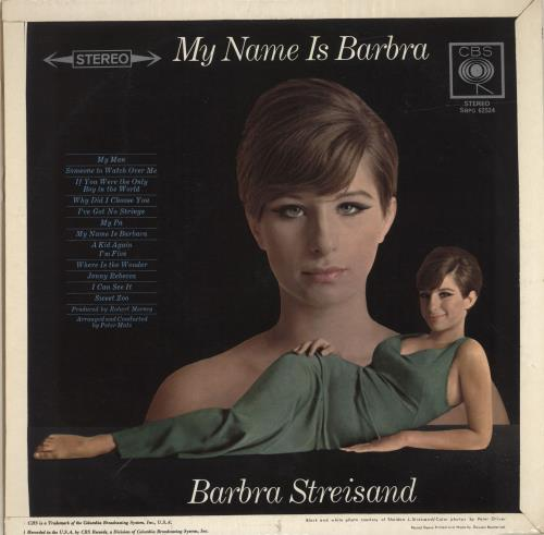 Barbra Streisand My Name Is Barbra vinyl LP album (LP record) UK BARLPMY331279