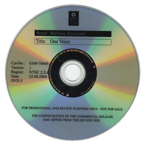 Barbra Streisand One Voice promo DVD-R US BARDRON380766