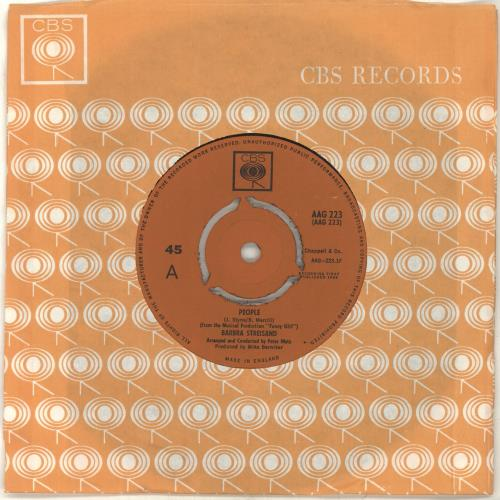 "Barbra Streisand People 7"" vinyl single (7 inch record) UK BAR07PE92839"