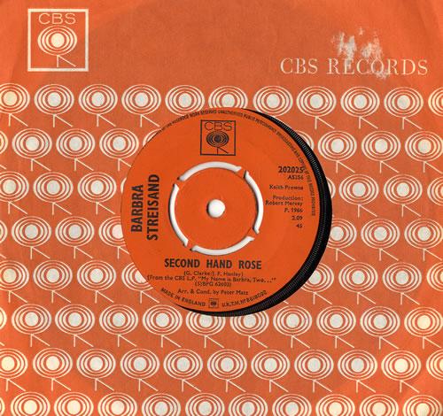 """Barbra Streisand Second Hand Rose 7"""" vinyl single (7 inch record) UK BAR07SE86670"""