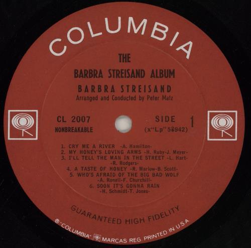 Barbra Streisand The Barbra Streisand Album - Mono vinyl LP album (LP record) US BARLPTH761734