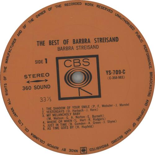Barbra Streisand The Best Of Barbra Streisand vinyl LP album (LP record) Japanese BARLPTH379405