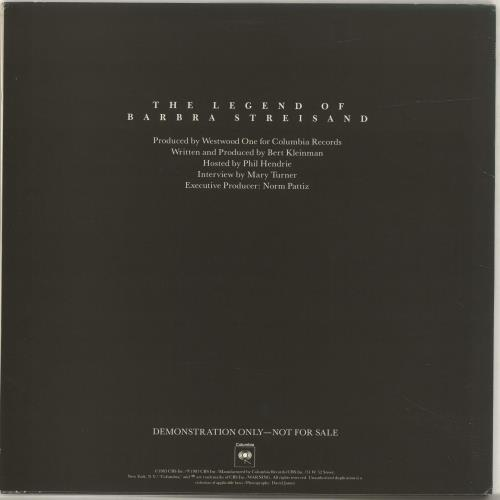Barbra Streisand The Legend Of..Interview Sampler 2-LP vinyl record set (Double Album) US BAR2LTH47027