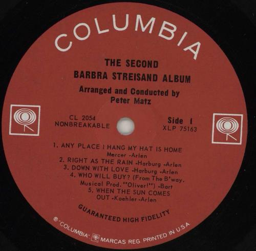 Barbra Streisand The Second Barbra Streisand Album - Mono vinyl LP album (LP record) US BARLPTH761737