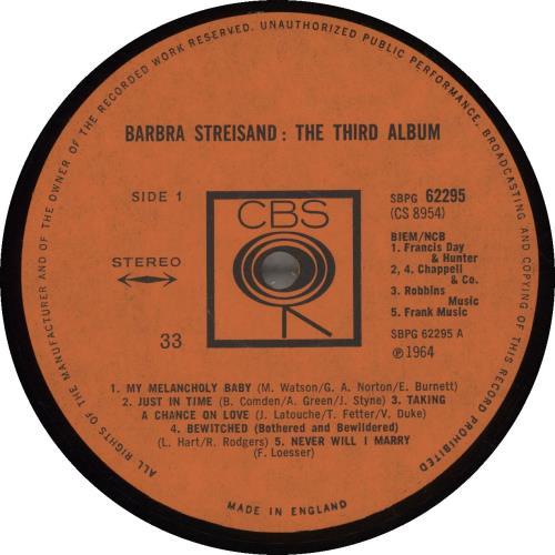 Barbra Streisand The Third Album - 1st vinyl LP album (LP record) UK BARLPTH61930