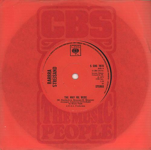 "Barbra Streisand The Way We Were 7"" vinyl single (7 inch record) UK BAR07TH574464"