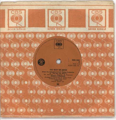 """Barbra Streisand The Way We Were 7"""" vinyl single (7 inch record) South African BAR07TH719778"""