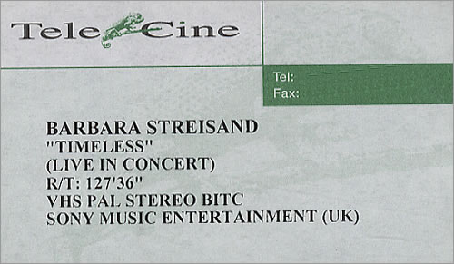 Barbra Streisand Timeless [Live In Concert] video (VHS or PAL or NTSC) UK BARVITI190632
