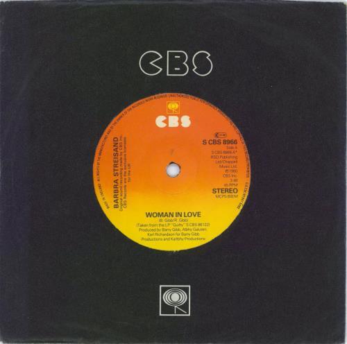 "Barbra Streisand Woman In Love - Solid 7"" vinyl single (7 inch record) Irish BAR07WO771193"