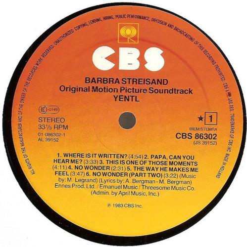 Barbra Streisand Yentl vinyl LP album (LP record) Dutch BARLPYE612607