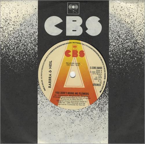 "Barbra Streisand You Don't Bring Me Flowers 7"" vinyl single (7 inch record) UK BAR07YO45195"