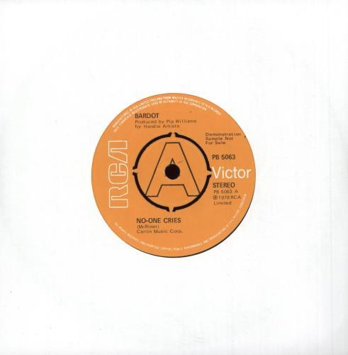 "Bardot No-One Cries - A Label 7"" vinyl single (7 inch record) UK BDT07NO747371"