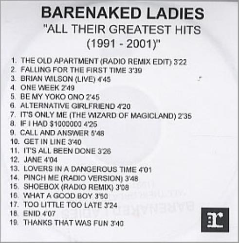 Barenaked Ladies All Their Greatest Hits 1991-2001 CD-R acetate UK BIECRAL200971