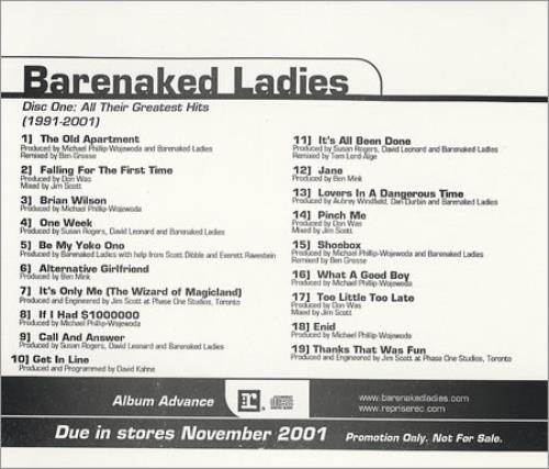 Barenaked Ladies Disc One All Their Greatest Hits 1991 2001 Us