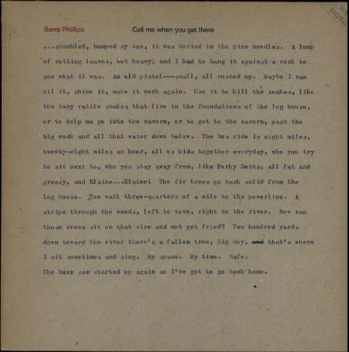 Barre Phillips Call Me When You Get There vinyl LP album (LP record) German E5ULPCA591853