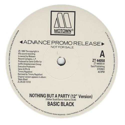 "Basic Black Nothing But A Party 12"" vinyl single (12 inch record / Maxi-single) UK BJQ12NO401023"